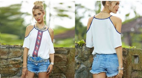 Sexy Women Short Sleeve Print Off Shoulder Loose Strappy Blouse Casual Tops